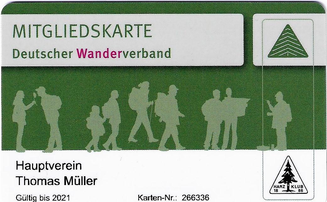 Mitgliedskarte Deutscher Wanderverband Harzklub